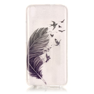 Soft IMD TPU Case for Huawei Honor 4A / Y6 - Black Feather