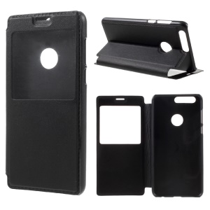 Leather Smart View Window Phone Shell para Huawei Honor 8 - Preto