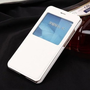 Slim Leather View Window Phone Case for Huawei Honor 5c / GT3 - White