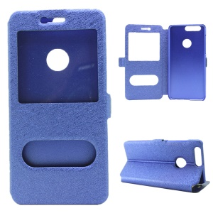 Silk Texture Dual Window Leather Stand Shell for Huawei Honor 8 - Blue