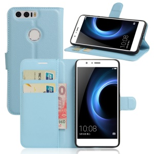 Litchi Texture Flip Leather Protector Case for Huawei Honor 8 - Blue