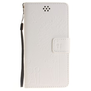 Dandelion and Lovers Wallet Leather Cover for Huawei Honor 4C - White