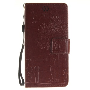 Dandelion and Lovers PU Leather Phone Case for Huawei Honor 4C - Brown