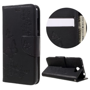 Imprint Butterfly Flower Leather Wallet Case for Huawei Y5 II - Black