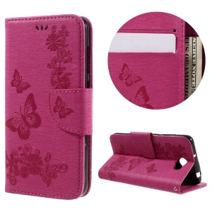 Imprint Butterfly Flower Leather Wallet Shell for Huawei Y5 II - Rose