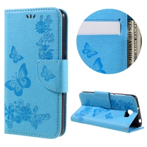 Imprint Butterfly Flower Leather Stand Cover for Huawei Y5 II - Blue