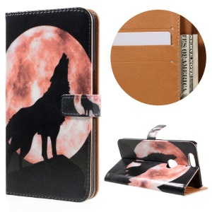 Stylish Pattern Leather Wallet Cover for Huawei Nexus 6P - Wolf and Moon