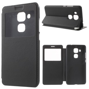 View Window Smart Leather Stand Case for Huawei nova plus/ G9 Plus/ Maimang 5 - Black
