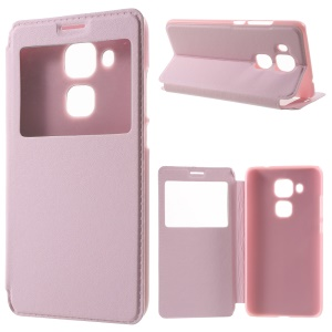 View Window Smart Leather Phone Cover for Huawei nova plus/ G9 Plus/ Maimang 5 - Pink