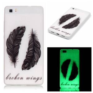Noctilucent TPU Phone Case for Huawei Ascend P8 Lite - Feather Pattern