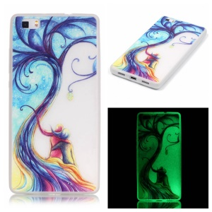 Noctilucent TPU Case Shell for Huawei Ascend P8 Lite - Two Beauty Sitting on the Branch