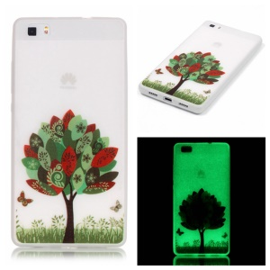 Noctilucent TPU Shell Cover for Huawei Ascend P8 Lite - Colorful Tree