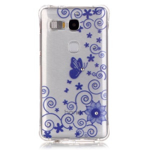 For Huawei Honor 5X/Play 5X TPU Drop Protection Case Incoming Call Flash - Floral Butterfly
