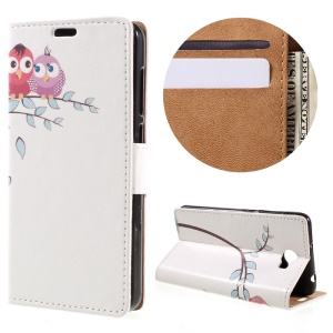 Wallet Leather Stand Case for Huawei Y6II Compact - Two Owls on the Tree Branch