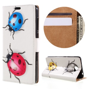 Wallet Leather Stand Cover for Huawei Y6II Compact - Colorized Ladybug