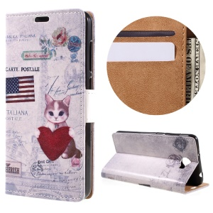 Magnetic Leather Stand Case for Huawei Y6II Compact - Cat Holding Heart and American Flag