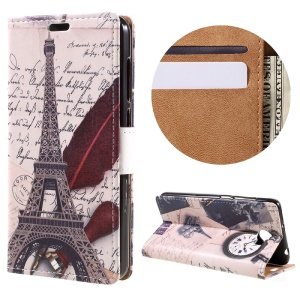 Leather Stand Case with Card Slots for Huawei Y6II Compact - Eiffel Tower and Characters
