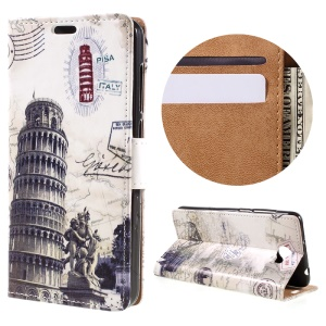 Leather Stand Cover with Card Slots for Huawei Y6II Compact - Leaning Tower of Pisa