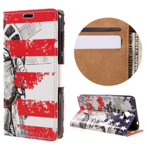 PU Leather Stand Case for Huawei Y6II Compact - Statue of Liberty
