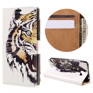 Leather Card Holder Case for Huawei Y6II Compact - Fierce Tiger