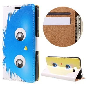 Wallet Leather Stand Case for Huawei Y6II Compact - Blue Hairy Doll