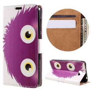 Wallet Leather Stand Case for Huawei Y6II Compact - Purple Hairy Doll