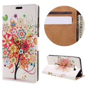 Leather Stand Cover with Card Slots for Huawei Y6II Compact - Flowered Tree