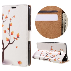 Wallet Leather Stand Case for Huawei Y6II Compact - Autumn Maple Tree