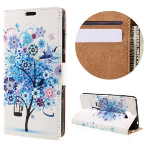 Wallet Leather Stand Case for Huawei Y6II Compact - Blue Tree