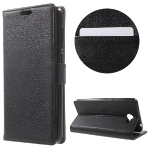 Litchi Texture Wallet Stand Leather Case for Huawei Y6II Compact - Black