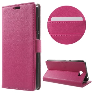 Litchi Skin Wallet Stand Leather Phone Case for Huawei Y6II Compact - Rose