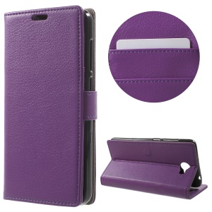 Litchi Texture Wallet Protective Leather Case for Huawei Y6II Compact - Purple