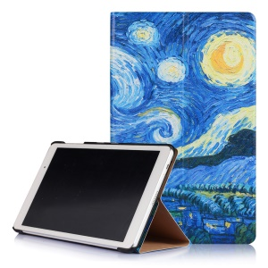 Smart Stand Leather Cover for Huawei MediaPad T2 10.0 Pro - Starry Night Oil Painting