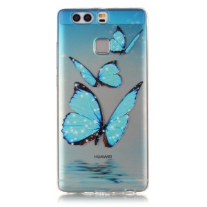 Embossed Clear TPU Back Case Cover for Huawei P9 - Shiny Blue Butterflies