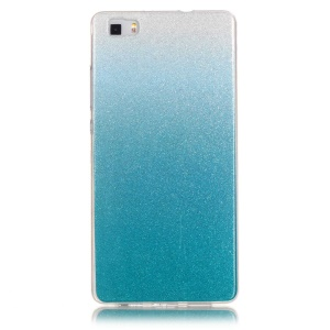Gradient Glitter Powder IMD TPU Case Shell for Huawei Ascend P8 Lite - Baby Blue