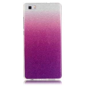 Gradient Glitter Powder IMD TPU Case for Huawei Ascend P8 Lite - Silver + Purple