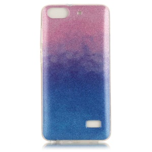 For Huawei Honor 4c Gradient Color Flash Powder Gel TPU Cover - Pink / Dark Blue