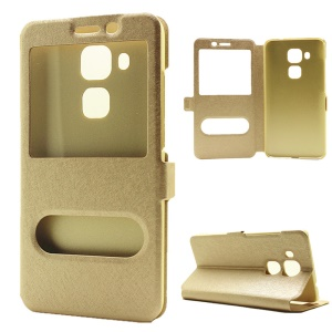 Silk Texture Dual Windows Leather Stand Cover for Huawei nova plus/ G9 Plus/ Maimang 5 - Gold