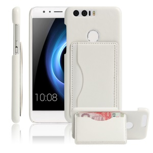 Vintage Leather Coated Hard PC Case for Huawei Honor 8 with Card Slot - White
