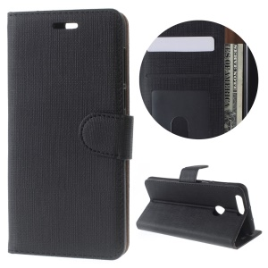 Cloth Texture Wallet Leather Stand Case for Huawei Honor 8 - Black