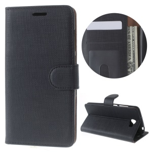 For Huawei Y5II / Y5 II Cloth Texture Wallet Stand Leather Case - Black