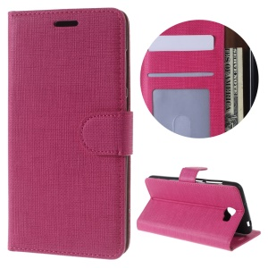 For Huawei Y5II / Y5 II Cloth Texture Wallet Stand Leather Cover - Rose