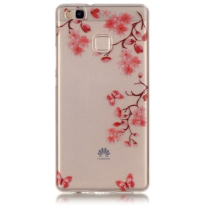 Clear IMD TPU Cover Case for Huawei P9 Lite / G9 Lite - Red Flowers and Butterflies