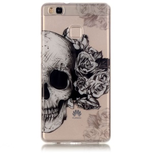 Clear IMD TPU Case Protector for Huawei P9 Lite / G9 Lite - Skull with Roses
