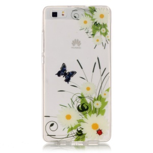IMD Clear TPU Case for Huawei Ascend P8 Lite - White Daisy Flowers and Butterfly