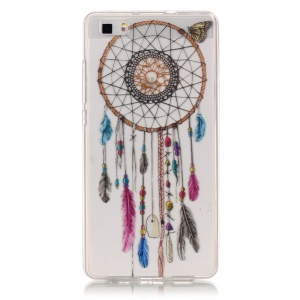 TPU Case IMD Clear Cover for Huawei Ascend P8 Lite - Dream Catcher and Butterfly
