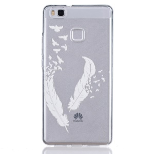 Embossed Thin TPU Back Case for Huawei P9 Lite / G9 Lite - White Feather