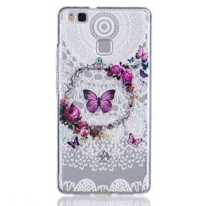 Embossed Thin TPU Phone Case for Huawei P9 Lite / G9 Lite - Butterfly and Garland