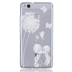 Embossed Thin TPU Phone Cover for Huawei P9 Lite / G9 Lite - White Dandelion and Sweet Lover