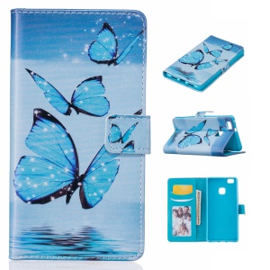 Embossed Leather Wallet Case for Huawei P9 Lite/G9 Lite - Blue Butterfly